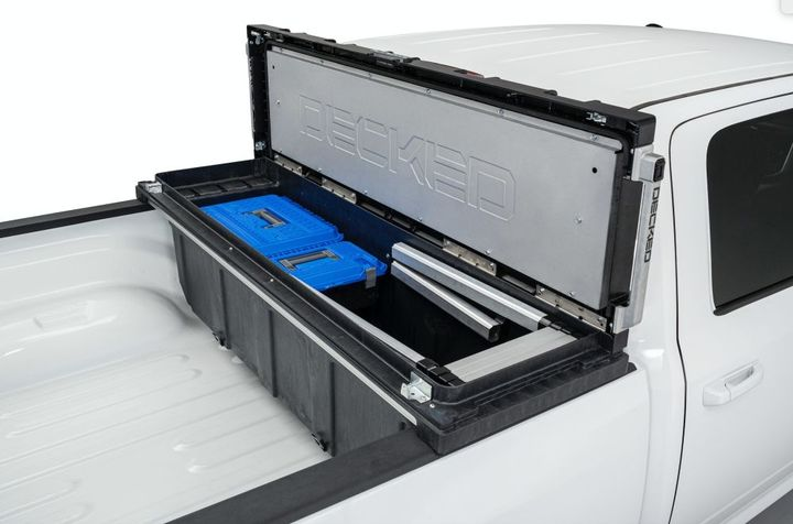 The Decked Truck Tool Box is constructed with high-impact, injection molded polymer ASA and HDPE resins for bombproof protection against dents and punctures. - Photo: Decked