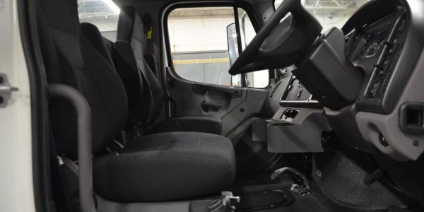 This steering conversion improves visibility and cab comfort for refuse/recycling trucks.