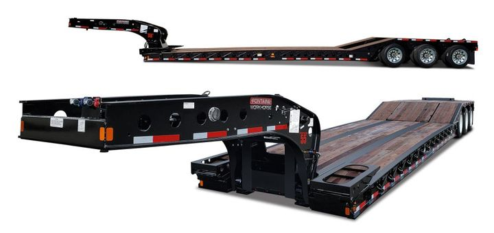 The Workhorse 55PVR is equipped with the Fontaine hydraulic removable gooseneck that can connect to or disconnect from the deck on uneven ground. - Photo: Fontaine Heavy-Haul