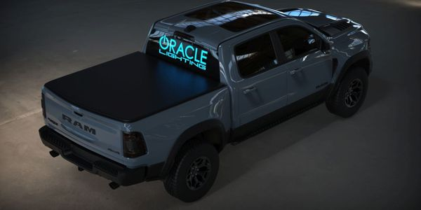 Pickup trucks are prime real-estate for these lit-up logos.