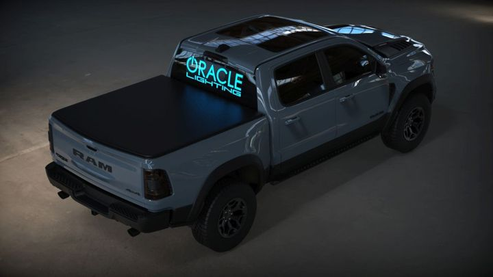 Pickup trucks are prime real-estate for these lit-up logos.  - Photo: Oracle