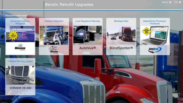 The upgrades are available for certain models manufactured by International Trucks, Kenworth Truck Company, Mack Trucks, Peterbilt Motors Company, and Volvo Trucks NA. - Photo: Bendix Wingman