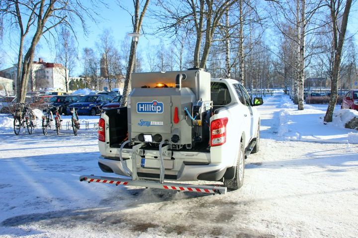 Hilltipde-icing Brine Sprayers are all equipped with 2-way GPRS control system for capability of tracking and controlling the brine sprayers remotely. - Photo: Hilltip