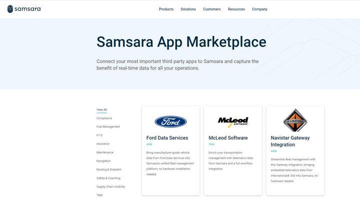 Samsara added 11 new integrations to its app marketplace. - Screen Capture: Samsara App Marketplace