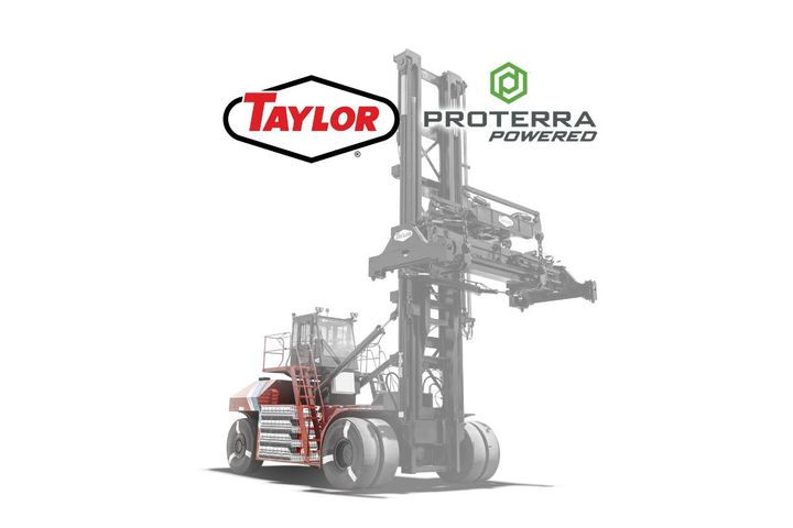 The all-electric, next-generation Taylor ZLC-series top handler and ZH-series forklift will feature Proterra's industry-leading battery technology system. - Photo:Taylor Machine Works