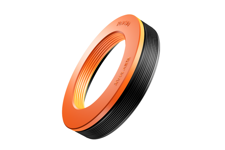 The improved Rev Max seal features the orange color of the seal's top plate, which was formed from HNBR rubber. - Photo: RevHD