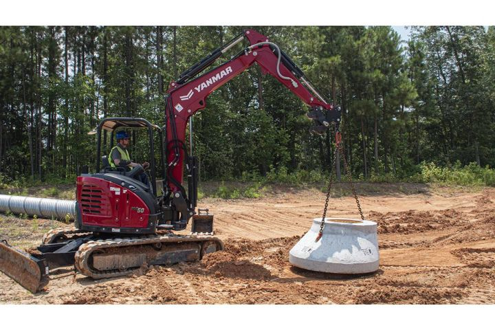 The new option reduces the risk of damage to the machine, buckets, or other attachments resulting from attempts to lift heavy objects with a strap or chain connected to areas not intended to be lifting points. - Photo: Yanmar Compact Equipment