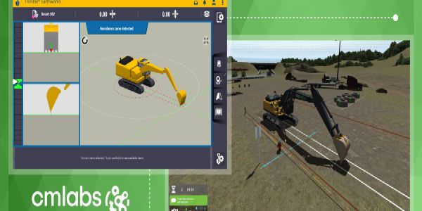 Trimble Earthworks for excavators software works in parallel with CM Labs' software and runs on...