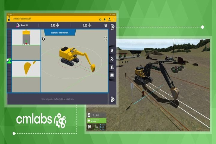 Trimble Earthworks for excavators software works in parallel with CM Labs' software and runs on a tablet, which the user can connect to the simulator. - Photo: CM Labs