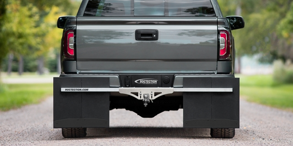 Image of ROCTECTION hitch-mounted mud flaps courtesy of ACI