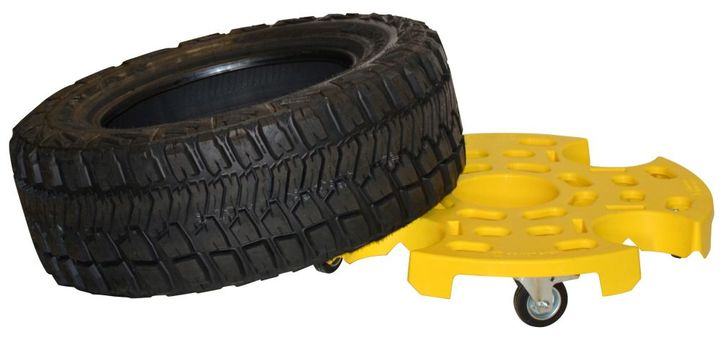 The new Heavy-Duty Tire Taxi provides easy storage of tires and wheels during mechanical work;