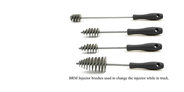 The custom diesel brushes are used to remove rust, carbon deposits, and dirt.