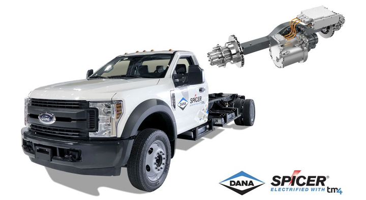 "The Spicer Electrified eS9000r consists of an integrated motor, transmission, and axle system, and is designed as a ""drop-in"" replacement for existing axles used in medium-duty trucks.