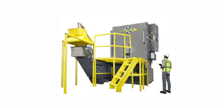 Designed for pit mounted installation, the custom options for the Renegade FL 9000 6048 Front Load Pit Mount Parts Washer include Gas Heat Immersion System, Sludge Conveyor, and Parts Tree with specially made nozzle and spray manifold configuration.  - Photo courtesy of Renegade