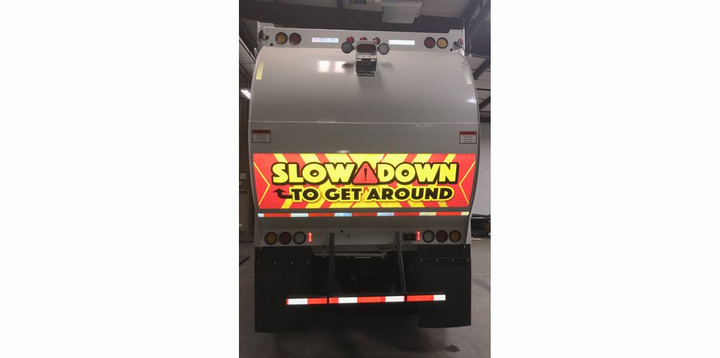 The SafetyFirst Prismatic Reflective caution decals include the familiar warning to Slow Down to Get Around. 