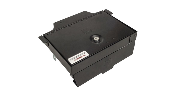 Incorporated into the design is an exclusive lid support feature which allows the lid to stay open while reaching into the console which features more than 400 cubic inches of lockable storage space.