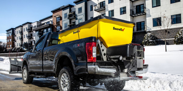 The new HELIXX Poly Hopper Spreader from SnowEx is designed to be used with full-size pickups,...