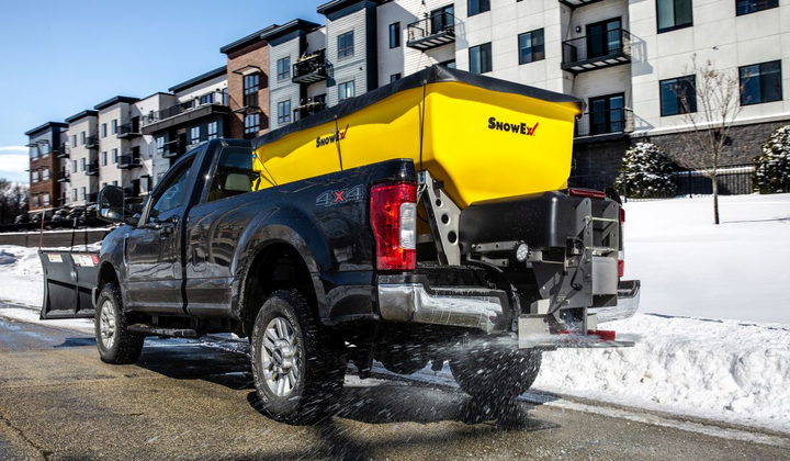 The new HELIXX Poly Hopper Spreader from SnowEx is designed to be used with full-size pickups, flatbed trucks, or dump-bed trucks.  - Photo courtesy of SnowEx