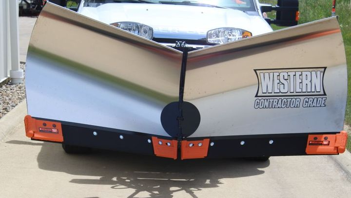 The V-Plow Guard system is currently compatible with Western, Fisher, and SnowEx plow models.  - Photo courtesy of Winter Equipment