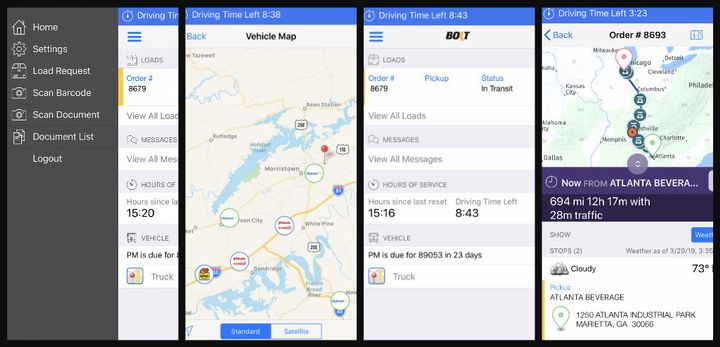 Through Bolt Tandem Workflow, drivers are shown a map of their route to their delivery drop, along with estimated time of arrival. They can also see other issues such as road closures and weather alerts and related delays. 