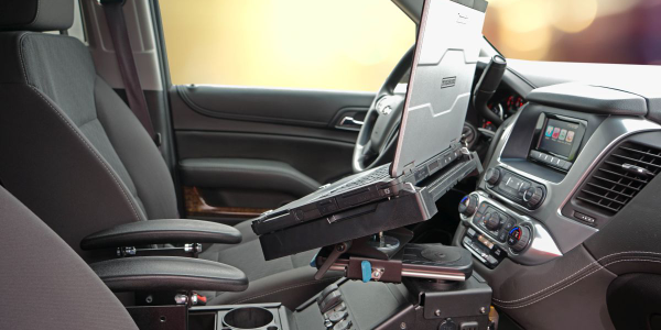 This Panasonic Toughbook fits into the Gamber Johnson mount installed inside a Chevrolet Tahoe...