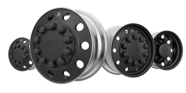 Each Alcoa Dura-Black Wheel is treated on both sides for flexibility of mounting in steer or...