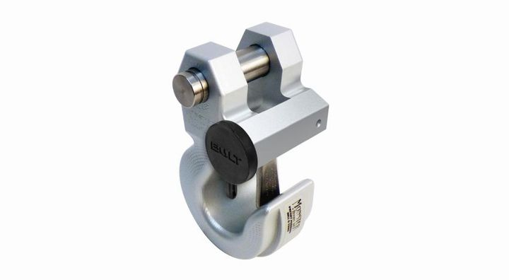 Monster Hooks swivel hooks are designed to be 99% faster than other 3/4-inch pin shackle hooks due to the latching mechanism.The addition of the Bolt lock located on the hook itself prevents the pin used to attach the hook to the vehicle from moving freely when locked.  - Photo courtesy of Bolt Lock