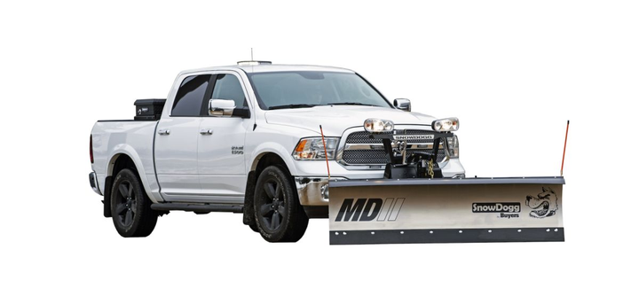 A new RapidLink Attachment System allows plow operators to quickly attach and detach the plow from the driver's side of the truck.