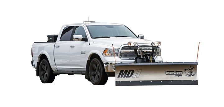 A new RapidLinkAttachment System allows plow operators to quickly attach and detach the plow from the driver's side of the truck.  - Photo: Buyers Products