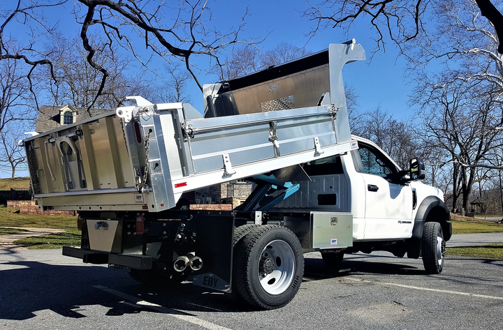 The EBY Fullback dump body is a general purpose aluminum truck body that can be customized to fit different applications.  - Photo via EBY