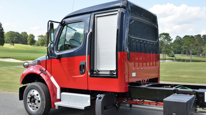 A patent-pending design allows for a watertight seal of the door to the truck, smooth, reliable operation of the roll-up door.