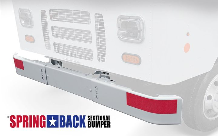 """If damaged,the new """"Spring-Back""""bumper only needs one smaller section of the bumper to be replaced, thus reducing material costs and repair expenses.  - Photo courtesy of Morgan Olson"""