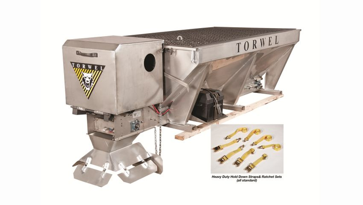Made in the USA, Torwel's improved Economizer gas-over-hydraulic V-box spreaders are lightweight and feature stainless steel or painted 14-gauge steel construction.  - Photo courtesy of Torwel