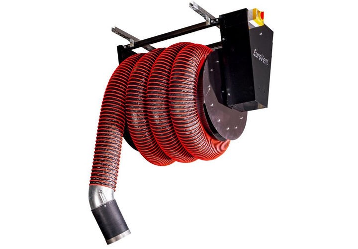 The motorized hose reel system is custom designed for each maintenance facility according to building design and requirements.  - Photo courtesy of JohnDow