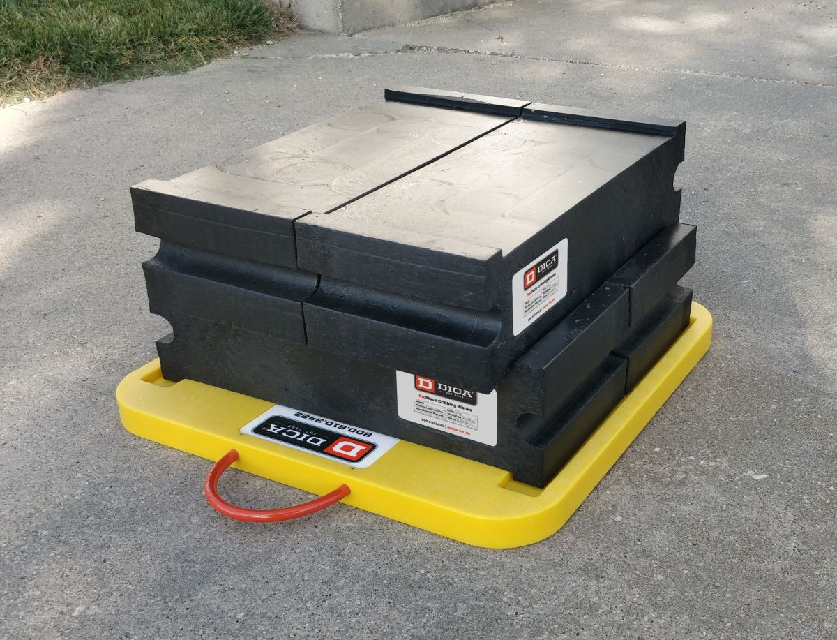 Slot Lock Cribbing Blocks are designed to stack and lock together for added height.  - Photo courtesy of DICA