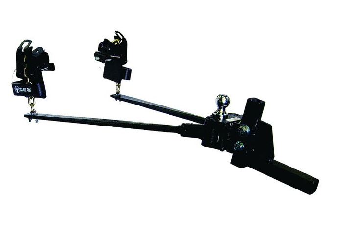 The Sway Pro weight distribution hitch by Blue Ox is designed to eliminate trailer sway utilizing two sway-control loops and two points of friction. A simple thumbscrew is used for head-angle adjustment.