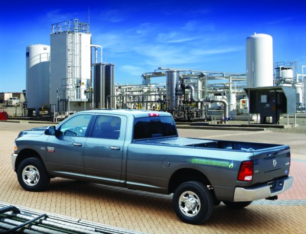 The CNG-only range of the Ram 2500 CNG pickup is 255 miles. The gasoline backup extends the range to 367 miles.  -