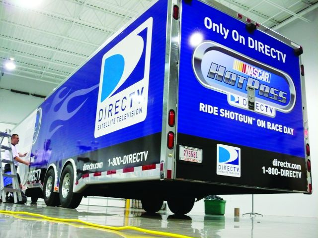 Large trailers provide a lot of room for graphics, such as the image above of DirecTV's trailer.