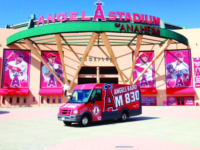 The new fan favorite at Angels Stadium is the KLAA 830 AM Isuzu Reach. The vehicle with its eye-catching graphics supports station events. -
