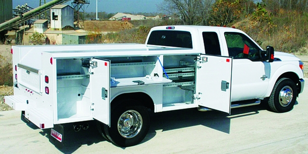 Service body trucks enable field technicians to easily reach the tools they use most frequently