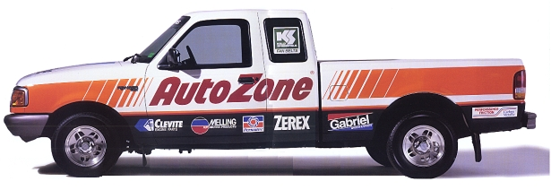 Until 2008, all fleet vehicles were branded with the AutoZone logo. Since branding was removed, the company has saved millions of dollars in accident claims. (Photo: AutoZone) -