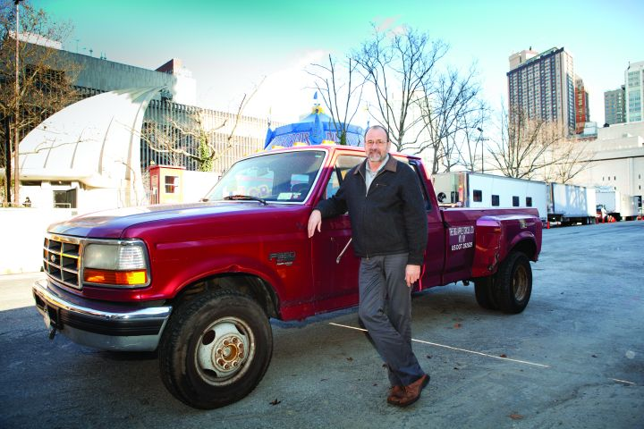 The big Apple Circus' Tom Larson manages a fleet that includes 10 Ford F-350 pickups. -