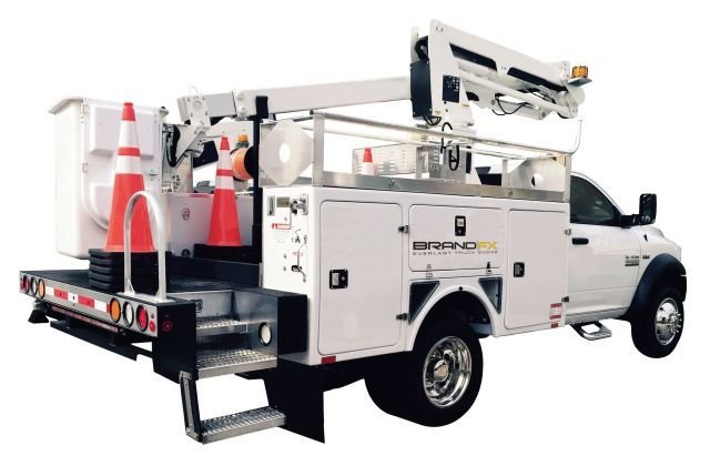 The BrandFX composite aerial body is one solution they provide for aerial trucks used by the telecommunications industry. (Photo: BrandFX) -