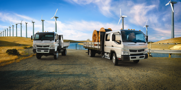 The Canter FG (left) and Canter FE Crew Cab models are ideal for vocational needs, such as dry...