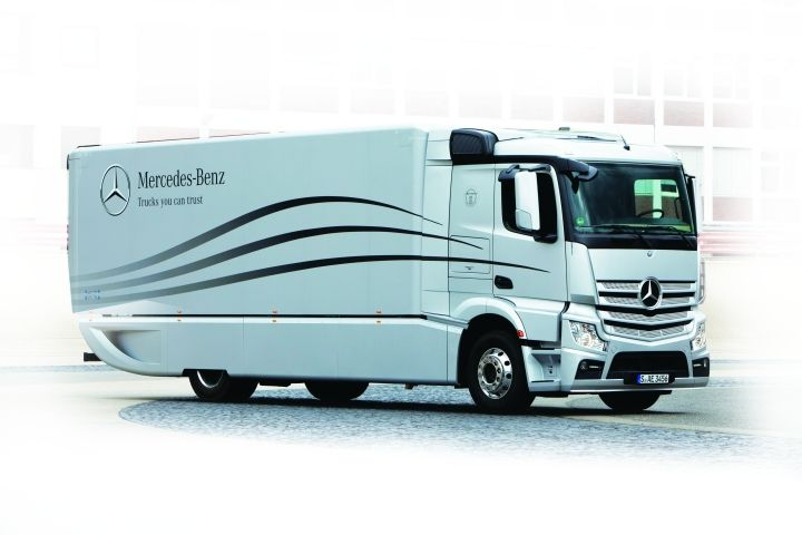 "Unveiled in 2012, Daimler Corp.'s ""Aerodynamics Truck and Trailer"" concept was part of an initiative by engineers to reduce fuel consumption in truck/semitrailer combinations. -"