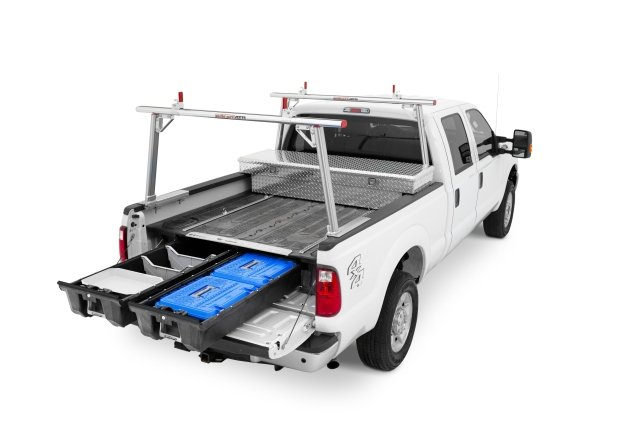 The Decked in-vehicle storage and organization system is made of high-density polyethylene with a galvanized steel subframe structure. (PHOTO: Decked) -