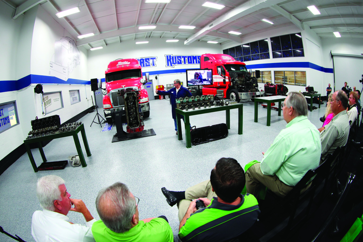 Media had a chance to watch the teardown of the two Cummins ISX diesel engines using EcoPower re-refined oil. -