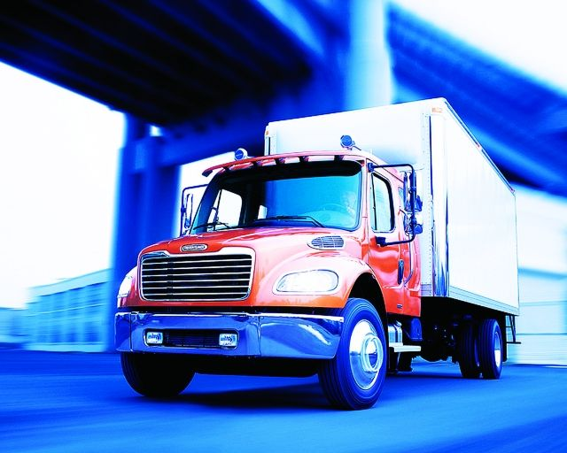The conventional truck is still seeing an advantage in terms of engine power options, driver comfort, and acquisition costs.  - Photo courtesy of Freightliner
