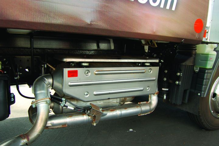 The new Canter FE/FG Series uses Daimler Commercial Truck's BlueTec emissions technology (DPF/SCR) to comply with EPA 2010 diesel emissions standards.  - Photo courtesy of Mitsubishi Fuso