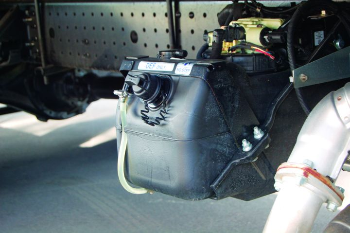 The reservoir for the diesel exhaust fluid (DEF).  - Photo courtesy of Mitsubishi Fuso